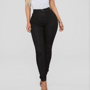 Fashion Nova high waisted black jeans.